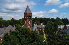 Drone shot over Old Main and North Hall
